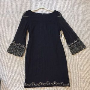 Alice + Olivia black dress with silver beading
